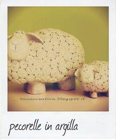 La Tana Creativa: I miei lavori. www.tanacreativa.blogspot.it CERAMIC SHEEP - Pottery - Clay