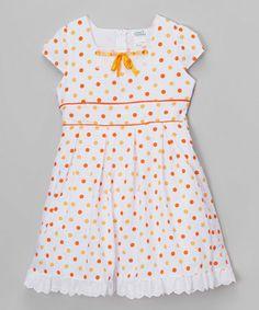 Love this Orange Polka Dot Cap-Sleeve Dress - Toddler & Girls on #zulily! #zulilyfinds