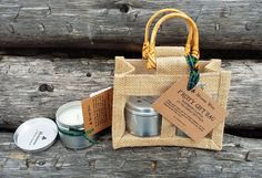 Apple and Raspberry Soy Wax x 2 Tin Candles Gift Bag Handmade in The Highlands by MulderieWood on Etsy