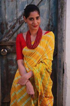 Turmeric Yellow Leheriya Khadi Cotton Saree