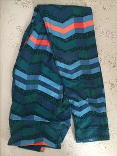 Teal/green/blue with salmon chevron & floral leggings (Tara)