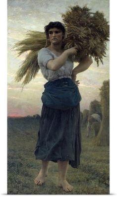 Jules (1827-1906) Breton Poster Print Wall Art Print entitled The Gleaner, 1877 (oil on canvas), None