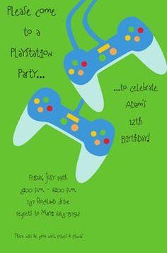 Kids Birthday Invitations - partyinvitations.com Kids Birthday Party Invitations, 12th Birthday, Free Paper, Invitation Design, Card Stock, Video Games, Videogames, Paper Board, Video Game
