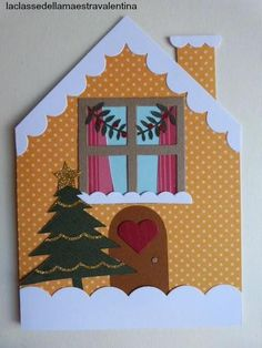 BIGLIETTI CASETTE INNEVATE Christmas Writing, Christmas Arts And Crafts, Santa Crafts, Homemade Christmas Cards, Christmas Projects, Handmade Christmas, Christmas Crafts, Christmas Decorations, Halloween Tags