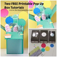 Free Pop Up Box Card Tutorials on luvinstampin.com, 3D Box Card using Stampin' UP! products