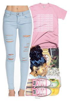 """i know when that hotline bling..."" by yeauxbriana ❤ liked on Polyvore featuring Fendi, Auriya and Converse"