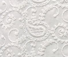Embroidered Cotton Fabric. White-on-White. Or You Can Dye It. Paisley. $14.95, via Etsy.