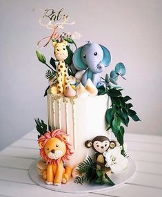 Baby Jaques 🦁🐒🦒🐘🌿 Custom name topper Baby Boy Birthday Cake, Animal Birthday Cakes, Baby Boy Cakes, First Birthday Cakes, Baby Shower Cakes, 1st Birthday Parties, Safari Cakes, Jungle Cake, Festa Party