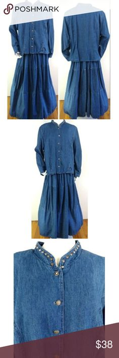 52a6556b984 VTG 80s Denim Prairie Dress Tier Skirt Studs M L VTG 80s Denim Prairie Dress  Tier Skirt