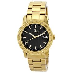 """JBW Women's JB-6224-B """"Starlight"""" Black Mother-Of-Pearl Dial Diamond Watch JBW. $123.75. High quality 18K gold-plated 3 link metal band with deployment clasp. Water-resistant to 330 feet (100 M). Highest standard Quartz movement. 18K gold-plated bezel with one row of diamonds; 0.20 CTW of genuine diamonds on the bezel. Black dial with gold hour markers; Magnified date calendar at 3 o'clock; Illuminated hands. Save 88%!"""