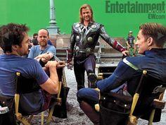 Joss Whedon, Chris Hemsworth, Robert Downey Jr. and Chris Evans
