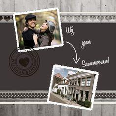 Verhuiskaart of samenwonenkaart voor 2 foto's. Vervang de foto's voor 2 eigen foto's.