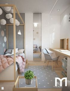 Pastel Colors Single Family Home Project – Scandinavian Style Child's Bedroom – Photo by Mart-Design Architektura Wnętrz by imkebouwman Home Bedroom, Girls Bedroom, Bedroom Decor, Kid Bedrooms, Bedroom Ideas, Girl Rooms, Decor Room, Trendy Bedroom, Bedroom Colors