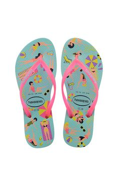 d4f074ecb Havaianas Slim Cool Sandal Ice Blue Shocking Pink Price From  £20.85 Roxy
