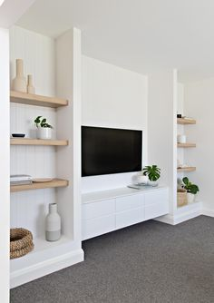 Home Decoration Ikea .Home Decoration Ikea Living Room Tv, Living Room Interior, Home And Living, Built In Shelves Living Room, Tv Wall With Shelves, Tv Wall Ideas Living Room, Built In Tv Wall Unit, Tv Shelving, Interior Livingroom