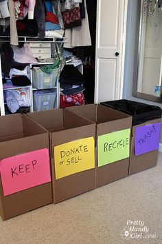 Try this four-bin system to help with end-of-the-school-year closet clean-outs.