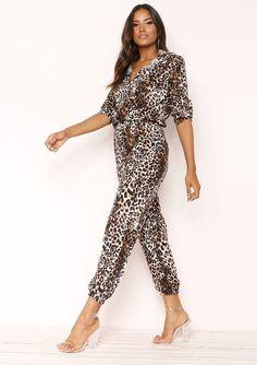 c2ede44cf233 Missyempire - Cortney Leopard Print Jumpsuit Printed Jumpsuit