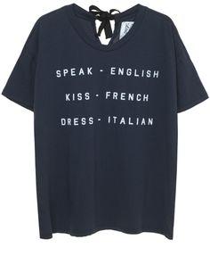 SPEAK - ENGLISH, KISS - FRENCH BOX FIT TEE | Zoe Karssen