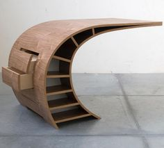 An original and dynamic desk by Dutch furniture designer Jan Willem van der Weij. Seemingly fragile, this little curve actually stands strong and offers extra space with cleverly hidden drawers that pop out. Unique Furniture, Wooden Furniture, Furniture Plans, Furniture Decor, Furniture Design, Furniture Makeover, System Furniture, Apartment Furniture, Primitive Furniture