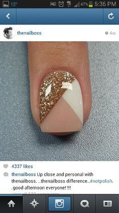 Nude, GOLD, and white nail design