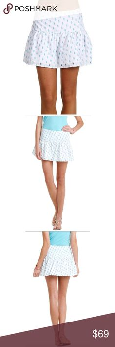 "Lilly Pulitzer Sz 14 Earna Shorely Skirt NWT 🔸Lilly Pulitzer Sz 14 Earna Shorely Blue April Showers Eyelet Skirt NWT🔸Size 14🔸Flouncy mini skirt🔸Embroidered eyelet raindrops throughout skirt🔸Yoked waistband🔸Lined🔸Side zip closure🔸Shell lining: 100% Cotton🔸Machine wash cold🔸Waist 19"" across laying flat🔸Hips 21""🔸Length 14 1/2""🔸NWT Lilly Pulitzer Skirts Circle & Skater"