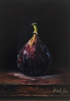 Fig Original Oil Painting Still Life by Nina R.Aide Original Fine Art Fruit Small Painting Traditional Classic Art Chiaroscuro by NinaRAideStudio on Etsy Oil Pastel Art, Oil Pastel Drawings, Oil Pastels, Classic Paintings, Small Paintings, Oil Pastel Landscape, Oil Pastel Techniques, Vegetable Painting, Still Life Fruit