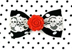 Hey, I found this really awesome Etsy listing at http://www.etsy.com/listing/173227791/vintage-rose-skull-and-dots-hair-bow