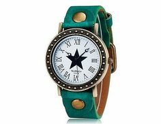 WOMAGE 523-9 Women's Star Print Round Dial Analog Watch Wrist Watch Green Strap