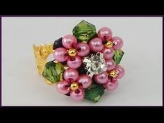 DIY | Strass Blumen Perlen Ring | Schmuck | Beaded pearl flower ring | Rhinestone beadwork - YouTube