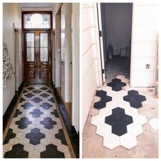 black/navy and white hexagon tile entryway floor Black And White Tiles, Style Tile, House Design, White Hexagon Tiles, Entryway Tile, Home Remodeling, House Interior, Flooring, Entryway Flooring