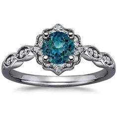 Sapphire Black Rhodium Cadenza Halo Diamond Ring in 18K White Gold with 5.5mm Round Teal Sapphire