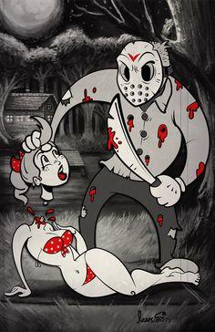 Jason Voorhees (Old Cartoon Art) Jason Voorhees, Arte Horror, Horror Art, Horror Drawing, Horror Cartoon, Cartoon Art, Scary Movies, Horror Movies, Vintage Cartoons