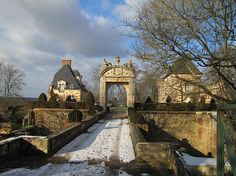Château de Saint-Georges-Motel | Gate crossing the castle moat. Normandy, Dreux, France. Previously the summer residence of Col & Mme Jacques Balsan (Consuelo Vanderbilt).