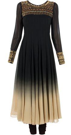 Black and beige aztec kurta set by NAMRATA JOSHIPURA.http://www.perniaspopupshop.com/designers-1/namrata-joshipura