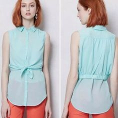 Maeve Anthropologie Layered Blouse Womens Size 4 Mint Green Tunic Top Tie Front #Anthropologie #Tunic #Business Tunic Blouse, Tunic Tops, Green Tunic, Layered Tops, Buttonholes, Mint Green, Blouses For Women, Anthropologie, Layers