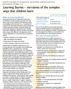 Learning Stories - narratives of the complex ways that children learn Learning Stories, Kids Learning, Childcare, Curriculum, Apple, Teaching, Education, Resume, Parenting