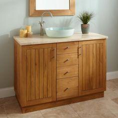 """48"""" Montara Teak Vessel Sink Vanity with Stone Top"""