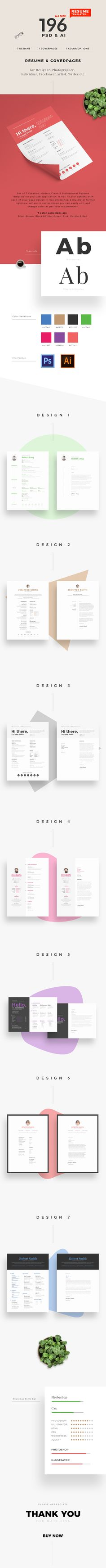 Set of 7 Creative, Modern,Clean & Professional Resume template for your job application. It has 7 Color options with each of coverpage design. It has photoshop & illustrator format rightnow. All are in vector shape you can easily edit and change color as per your requrements.  7 color variations are : Blue, Brown, Black&White, Green, Pink, Purple & Red.
