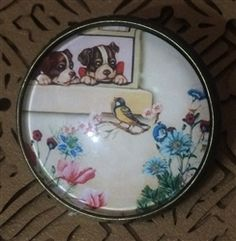Crystal Glass Dome Button Vintage Graphics Puppies at Window Bird @ Nanalulus Linens and Handkerchiefs