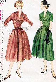 1950s Beautiful Cocktail Evening Party Dress Pattern Simplicity 4008 Vintage Sewing Pattern Figure Flattering Draped Bodice With Shaped Midriff Film Noir Glam Bust 34 FACTORY FOLDED