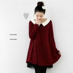 lovemark  Contrast Collar Knit Dress