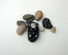 painted stone rock BABY mixed media souvenir paper by marina826, $23.00