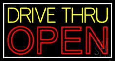 Yellow Drive Thru Open Red Neon Sign 20 Tall x 37 Wide x 3 Deep, is 100% Handcrafted with Real Glass Tube Neon Sign. !!! Made in USA !!!  Colors on the sign are White, Red and Yellow. Yellow Drive Thru Open Red Neon Sign is high impact, eye catching, real glass tube neon sign. This characteristic glow can attract customers like nothing else, virtually burning your identity into the minds of potential and future customers.
