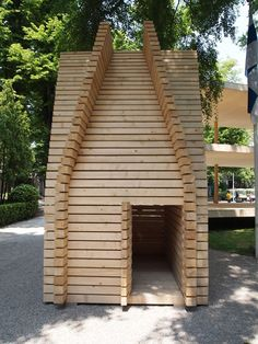 Finnish Pavilion Venice Architecture Biennale 2014. Architect Anssi Lassila has installed two huts outside the Finnish Pavilion at the Venice biennale. The first was built from spruce by a Finnish carpenter.