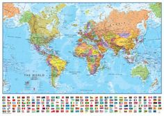 World 1:40 Wall Map, Laminated Educational Poster. AllPosters.no. 104x74 cm