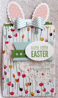 Bunny Gift Card Holder by Wendy Lee, #creativeleeyours, Stampin' Up!, Mini Treat Bag, For Peeps Sake, Bow Builder Punch