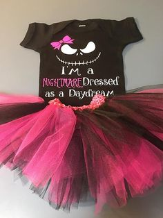 Nightmare before Christmas-Nightmare Dressed like a Daydream Girls Onesie with matching TUTU Various Colors!