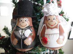 Monkey Bride and Groom Lightbulb Ornaments by CyndiMacsNickKnacks, $30.00