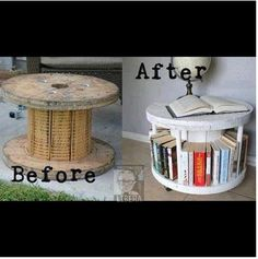 DIY bookcase - put it on casters so you can turn it around. This is rad. Would totally make if i knew how to get huge spool