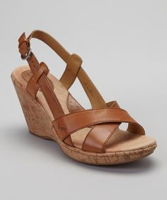 Take a look at the Nut Kelly Leather Slingback Wedge Sandal on #zulily today!